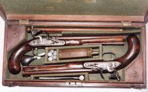 Wogdon Cased pair of Flintlock Duelling pistols